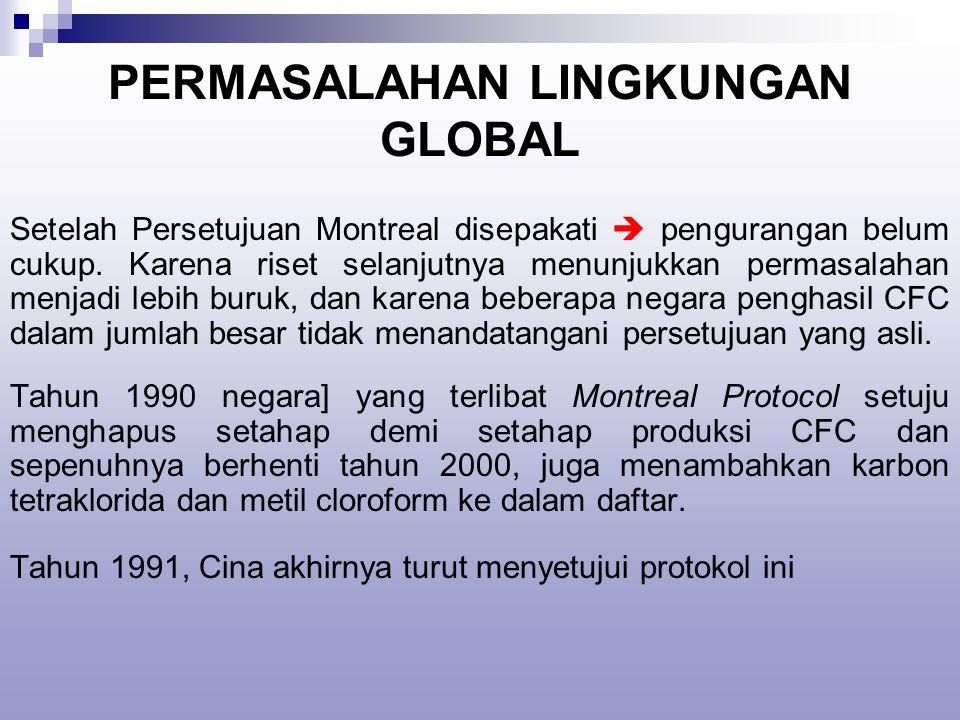 PERMASALAHAN LINGKUNGAN GLOBAL Setelah Persetujuan Montreal disepakati  pengurangan belum cukup.