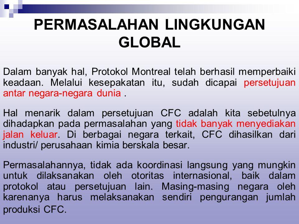 PERMASALAHAN LINGKUNGAN GLOBAL Dalam banyak hal, Protokol Montreal telah berhasil memperbaiki keadaan.