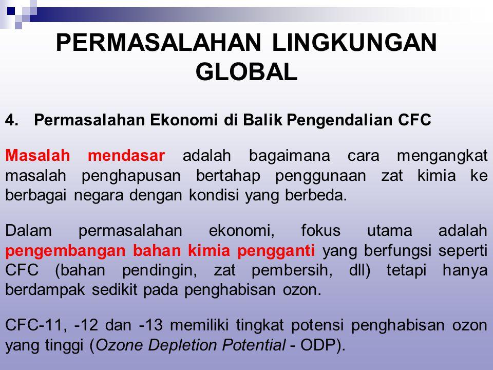 PERMASALAHAN LINGKUNGAN GLOBAL 4.Permasalahan Ekonomi di Balik Pengendalian CFC Masalah mendasar adalah bagaimana cara mengangkat masalah penghapusan bertahap penggunaan zat kimia ke berbagai negara dengan kondisi yang berbeda.
