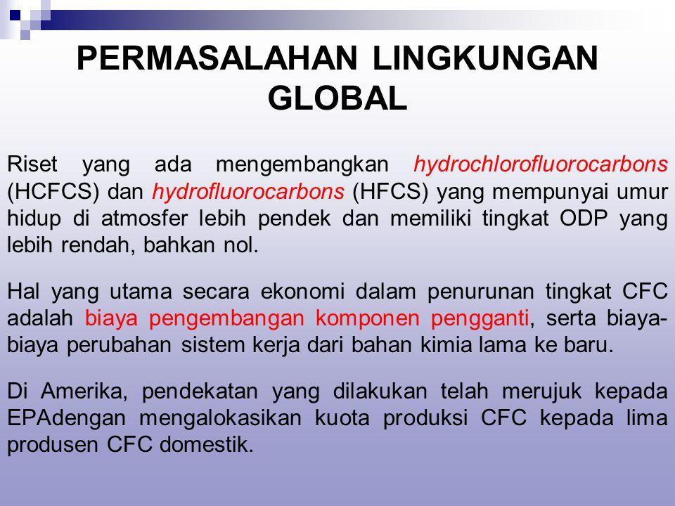 PERMASALAHAN LINGKUNGAN GLOBAL Riset yang ada mengembangkan hydrochlorofluorocarbons (HCFCS) dan hydrofluorocarbons (HFCS) yang mempunyai umur hidup di atmosfer lebih pendek dan memiliki tingkat ODP yang lebih rendah, bahkan nol.
