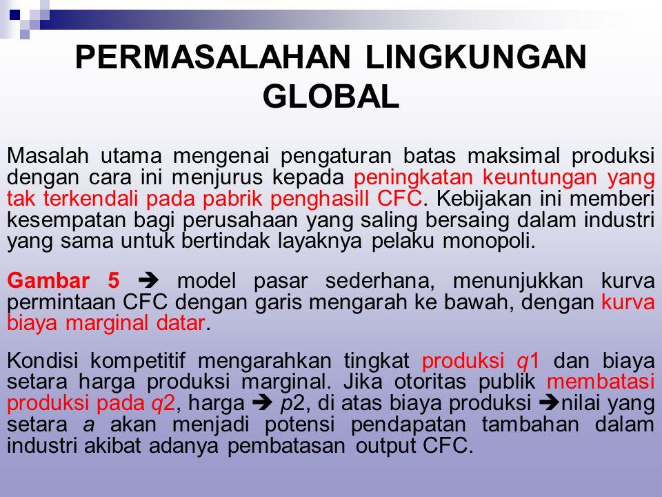 PERMASALAHAN LINGKUNGAN GLOBAL Masalah utama mengenai pengaturan batas maksimal produksi dengan cara ini menjurus kepada peningkatan keuntungan yang tak terkendali pada pabrik penghasill CFC.