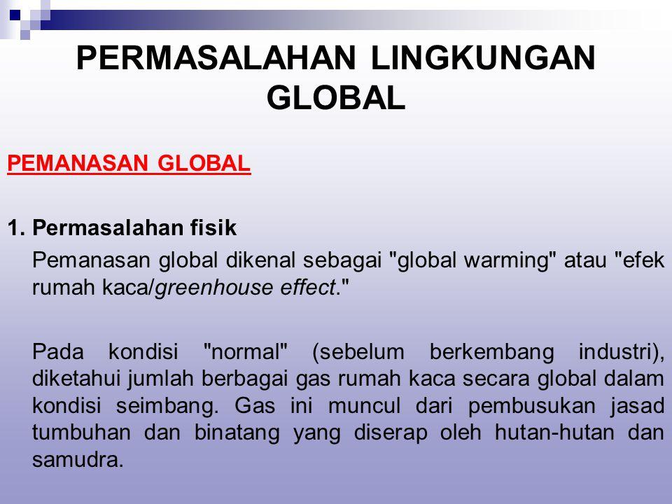 PERMASALAHAN LINGKUNGAN GLOBAL PEMANASAN GLOBAL 1.Permasalahan fisik Pemanasan global dikenal sebagai global warming atau efek rumah kaca/greenhouse effect. Pada kondisi normal (sebelum berkembang industri), diketahui jumlah berbagai gas rumah kaca secara global dalam kondisi seimbang.