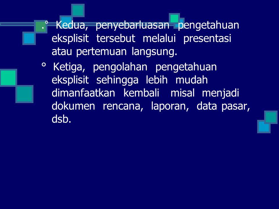 .° Kedua, penyebarluasan pengetahuan eksplisit tersebut melalui presentasi atau pertemuan langsung. ° Ketiga, pengolahan pengetahuan eksplisit sehingg