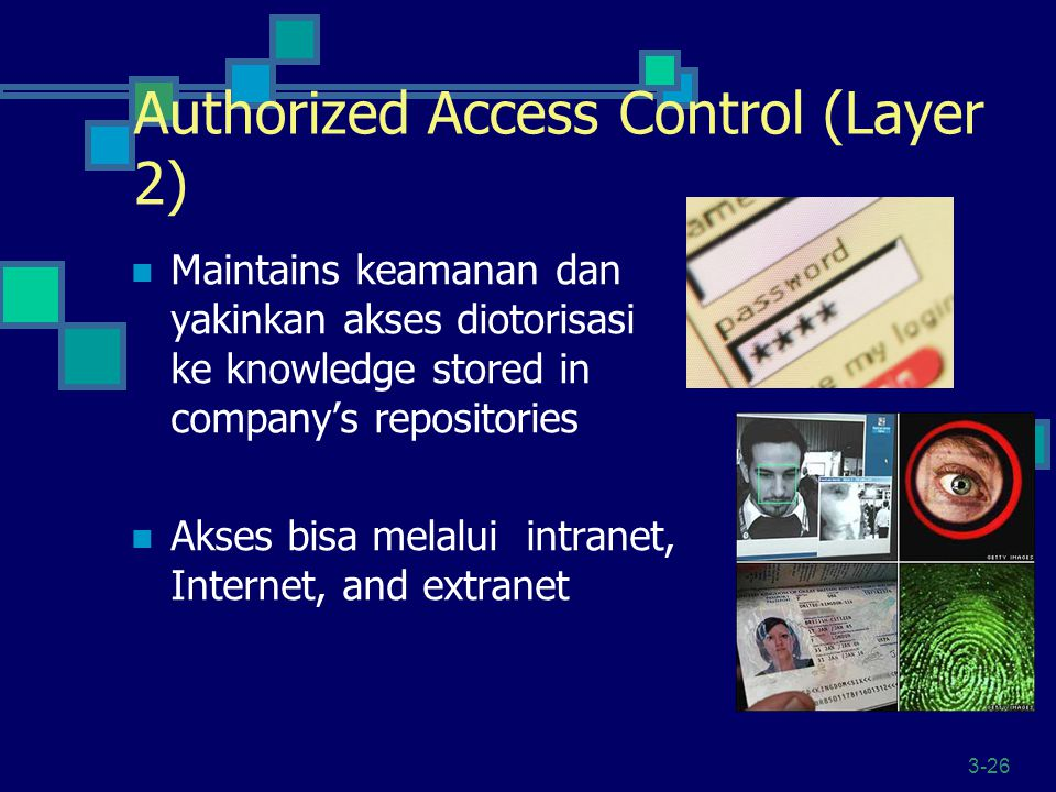 3-26 Authorized Access Control (Layer 2) Maintains keamanan dan yakinkan akses diotorisasi ke knowledge stored in company's repositories Akses bisa melalui intranet, Internet, and extranet