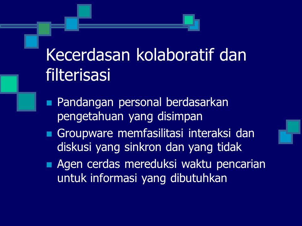 Kecerdasan kolaboratif dan filterisasi Pandangan personal berdasarkan pengetahuan yang disimpan Groupware memfasilitasi interaksi dan diskusi yang sin