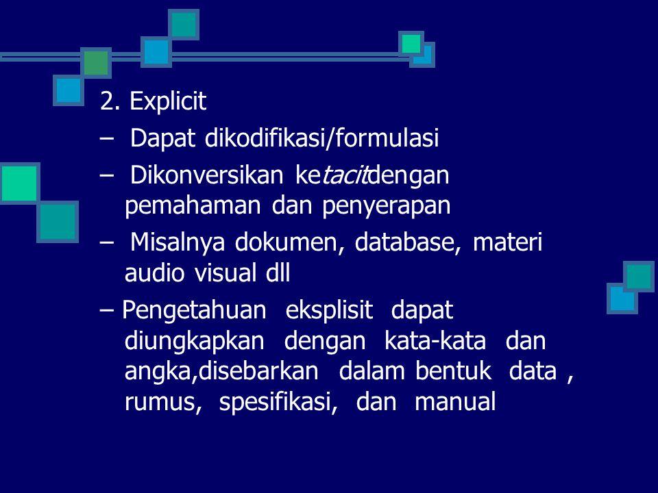 2. Explicit – Dapat dikodifikasi/formulasi – Dikonversikan ketacitdengan pemahaman dan penyerapan – Misalnya dokumen, database, materi audio visual dl
