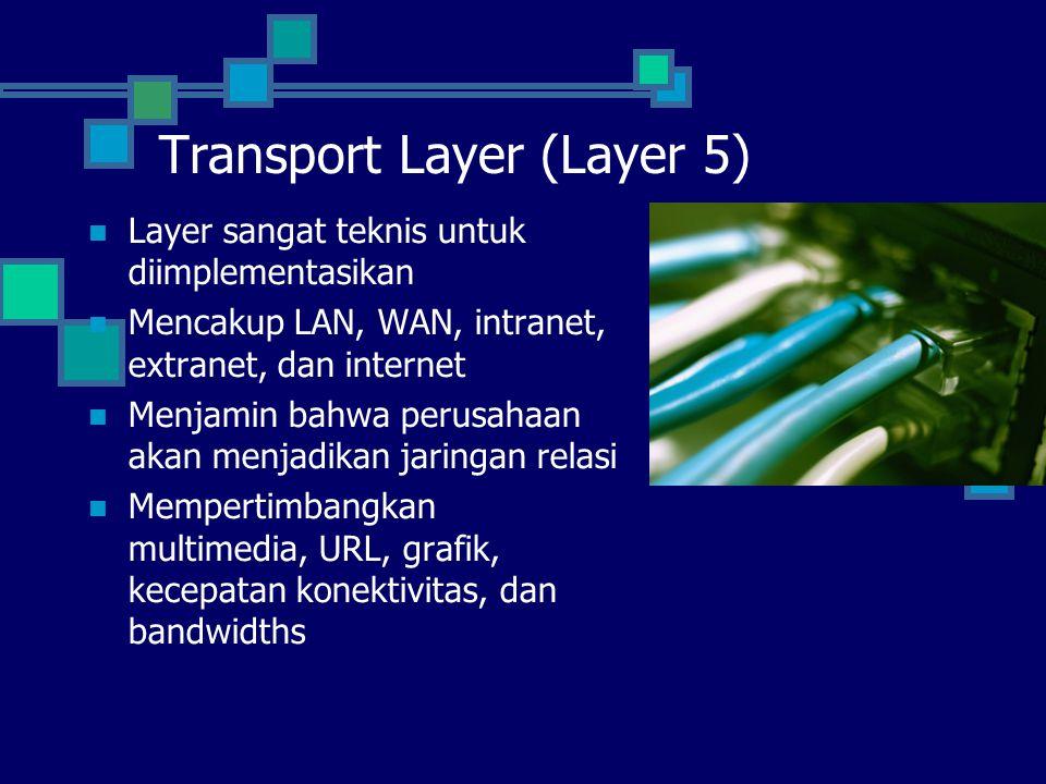 Transport Layer (Layer 5) Layer sangat teknis untuk diimplementasikan Mencakup LAN, WAN, intranet, extranet, dan internet Menjamin bahwa perusahaan ak