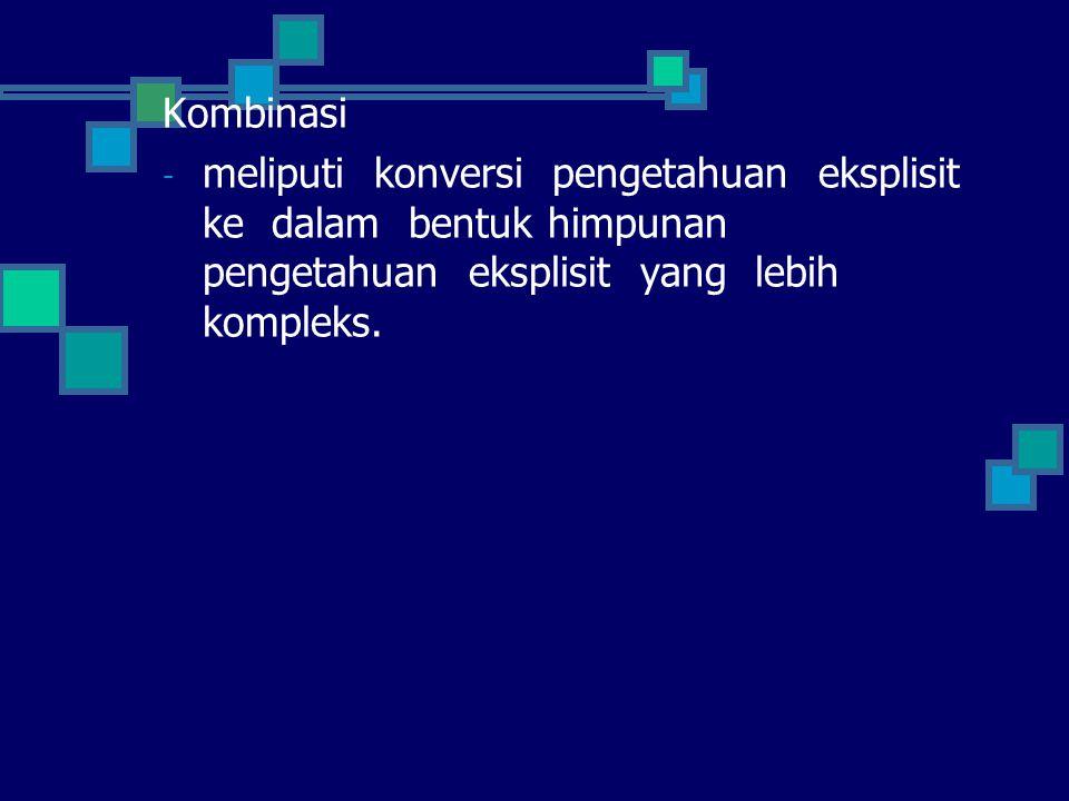 Kombinasi - meliputi konversi pengetahuan eksplisit ke dalam bentuk himpunan pengetahuan eksplisit yang lebih kompleks.