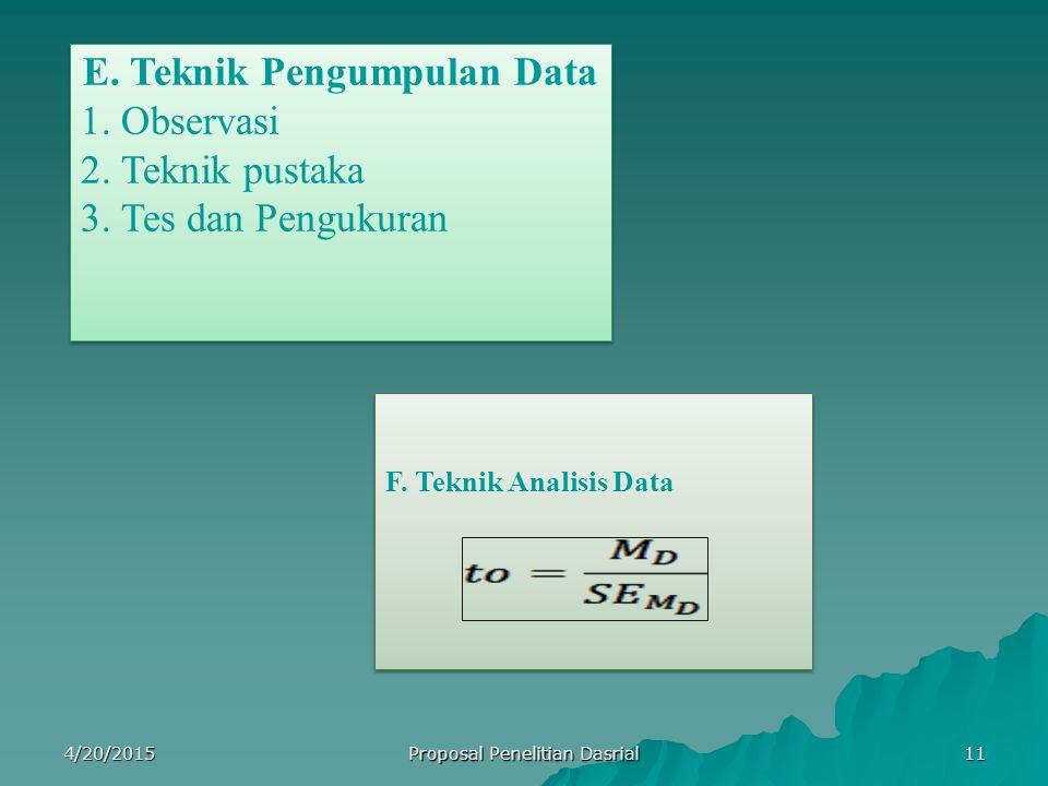 E. Teknik Pengumpulan Data 1. Observasi 2. Teknik pustaka 3. Tes dan Pengukuran E. Teknik Pengumpulan Data 1. Observasi 2. Teknik pustaka 3. Tes dan P