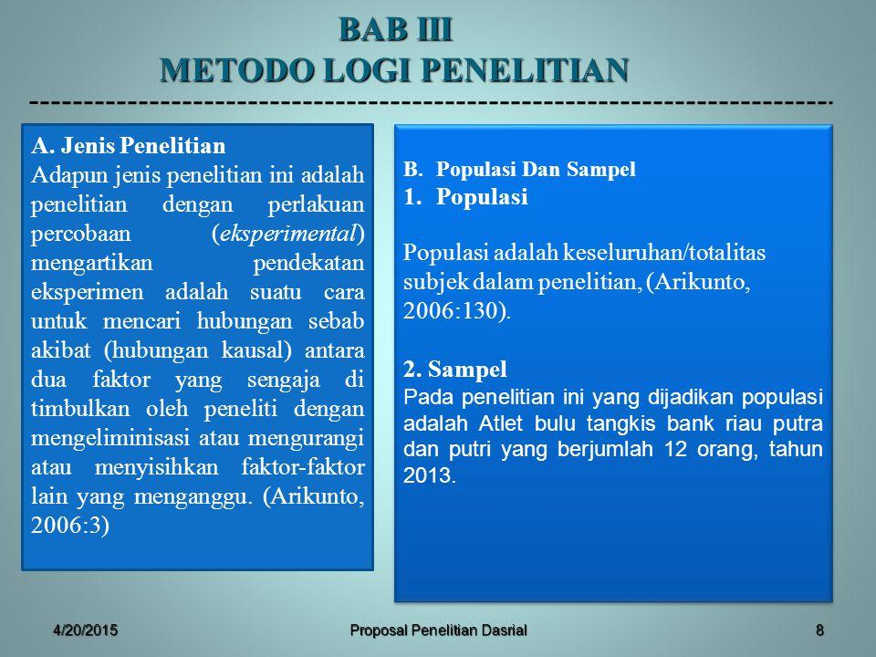 BAB III METODO LOGI PENELITIAN B.Populasi Dan Sampel 1.Populasi Populasi adalah keseluruhan/totalitas subjek dalam penelitian, (Arikunto, 2006:130). 2