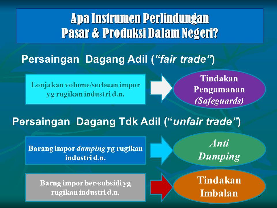 """Apa Instrumen Perlindungan Pasar & Produksi Dalam Negeri? 2 Lonjakan volume/serbuan impor yg rugikan industri d.n. Persaingan Dagang Adil (""""fair trade"""