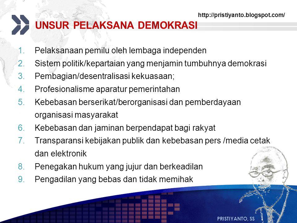 http://pristiyanto.blogspot.com/ PRISTIYANTO, SS 1.Pelaksanaan pemilu oleh lembaga independen 2.Sistem politik/kepartaian yang menjamin tumbuhnya demo
