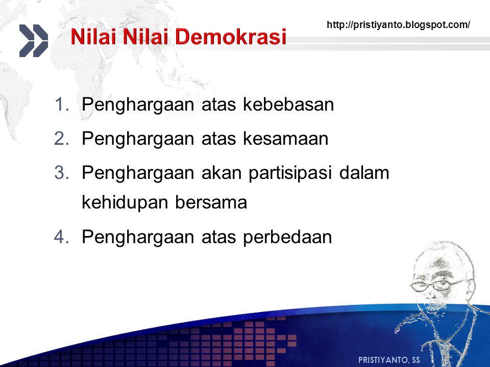 http://pristiyanto.blogspot.com/ PRISTIYANTO, SS 1.Penghargaan atas kebebasan 2.Penghargaan atas kesamaan 3.Penghargaan akan partisipasi dalam kehidup