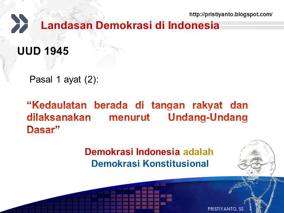 http://pristiyanto.blogspot.com/ PRISTIYANTO, SS UUD 1945 Pasal 1 ayat (2):