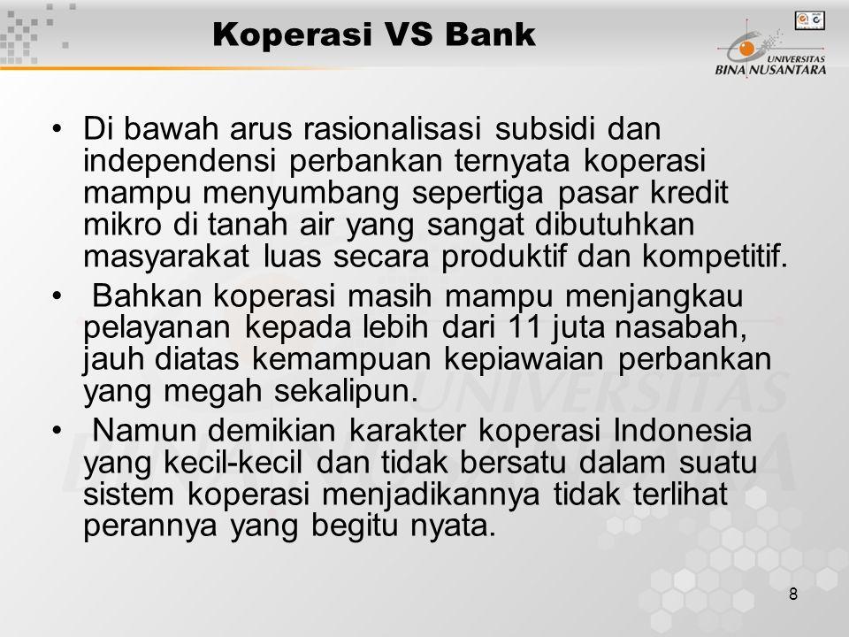 8 Koperasi VS Bank Di bawah arus rasionalisasi subsidi dan independensi perbankan ternyata koperasi mampu menyumbang sepertiga pasar kredit mikro di tanah air yang sangat dibutuhkan masyarakat luas secara produktif dan kompetitif.