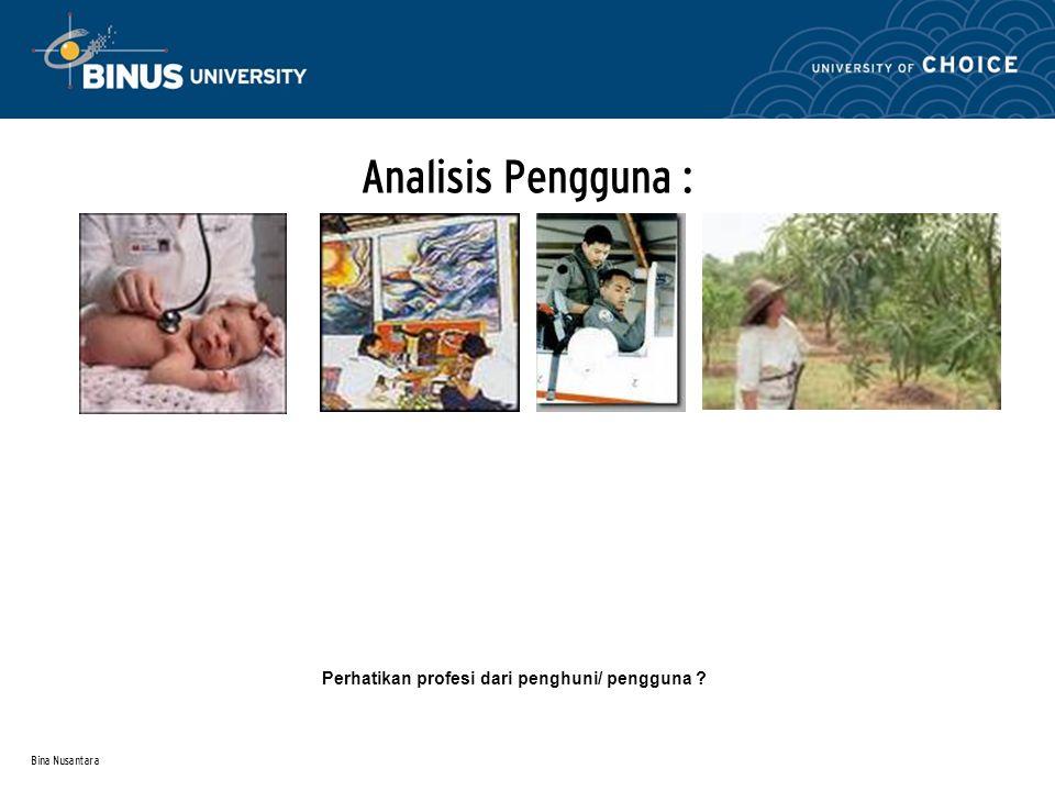 Bina Nusantara Analisa Ruang Uraikan analisa ruang yang didalamnya meliputi : 1.