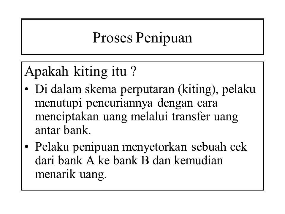 Proses Penipuan Apakah kiting itu ? Di dalam skema perputaran (kiting), pelaku menutupi pencuriannya dengan cara menciptakan uang melalui transfer uan