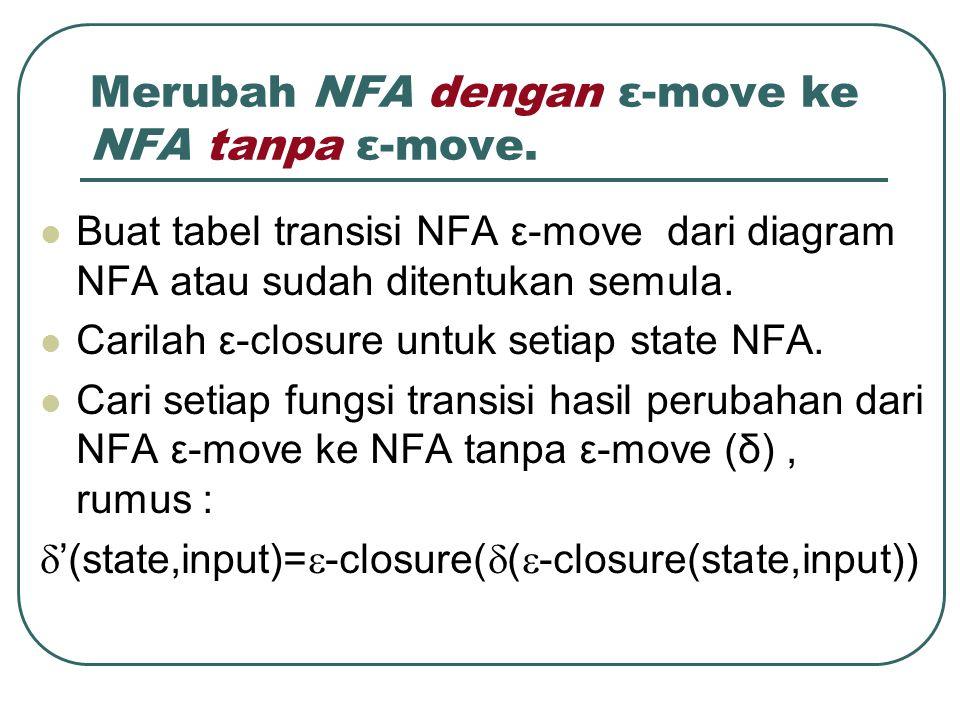 Merubah NFA dengan ε-move ke NFA tanpa ε-move.