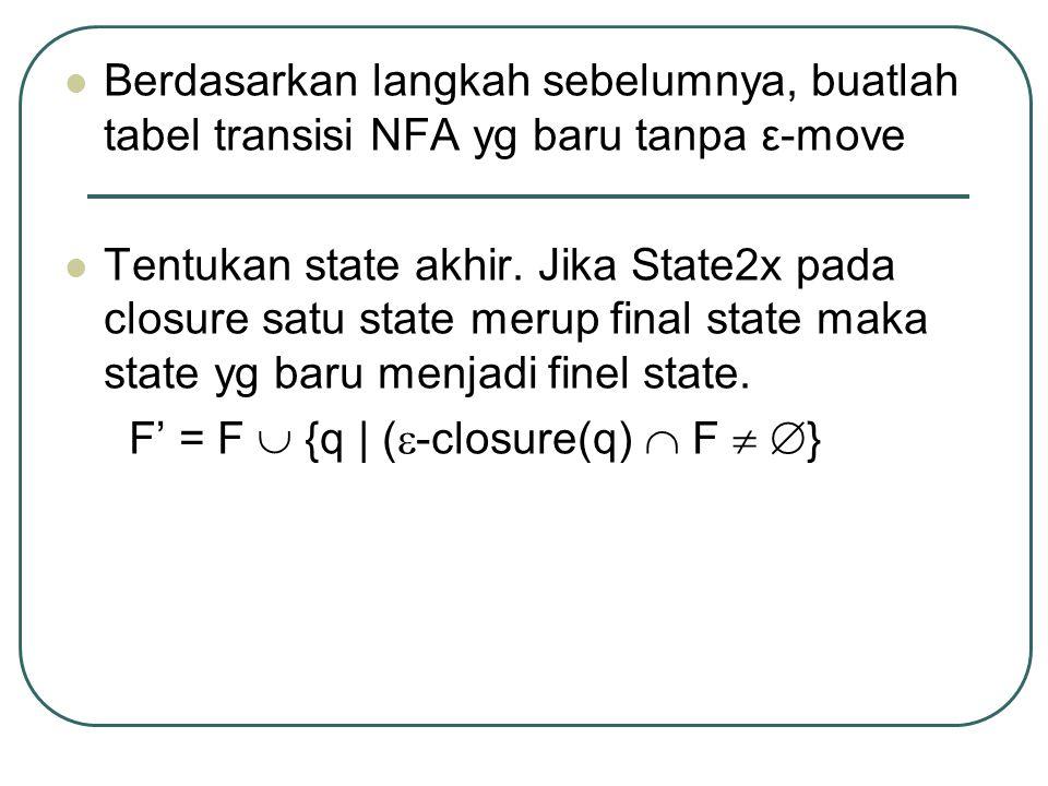 Berdasarkan langkah sebelumnya, buatlah tabel transisi NFA yg baru tanpa ε-move Tentukan state akhir.