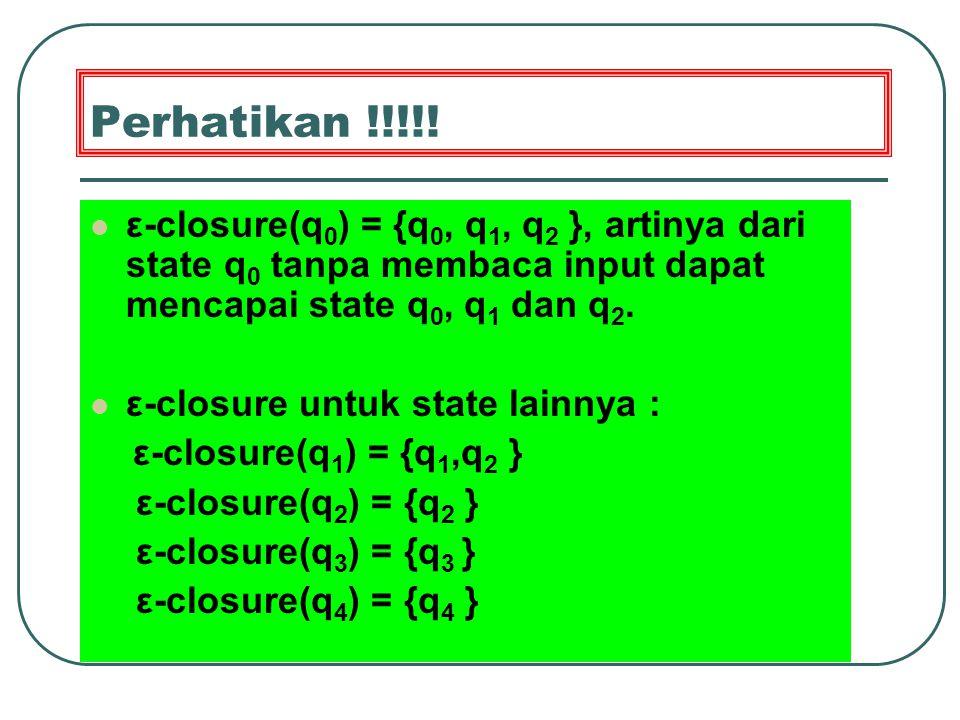 Ekivalensi NFA dengan ε-move ke NFA tanpa ε-move Ekivalen = mampu menerima bahasa yang sama.