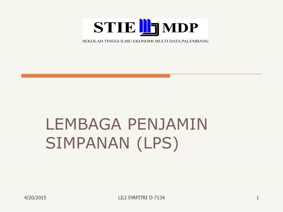 Sejarah LPS  Pada tahun 1998, krisis moneter dan perbankan yang menghantam Indonesia, yang ditandai dengan dilikuidasinya 16 bank, mengakibatkan menurunnya tingkat kepercayaan masyarakat pada sistem perbankan.