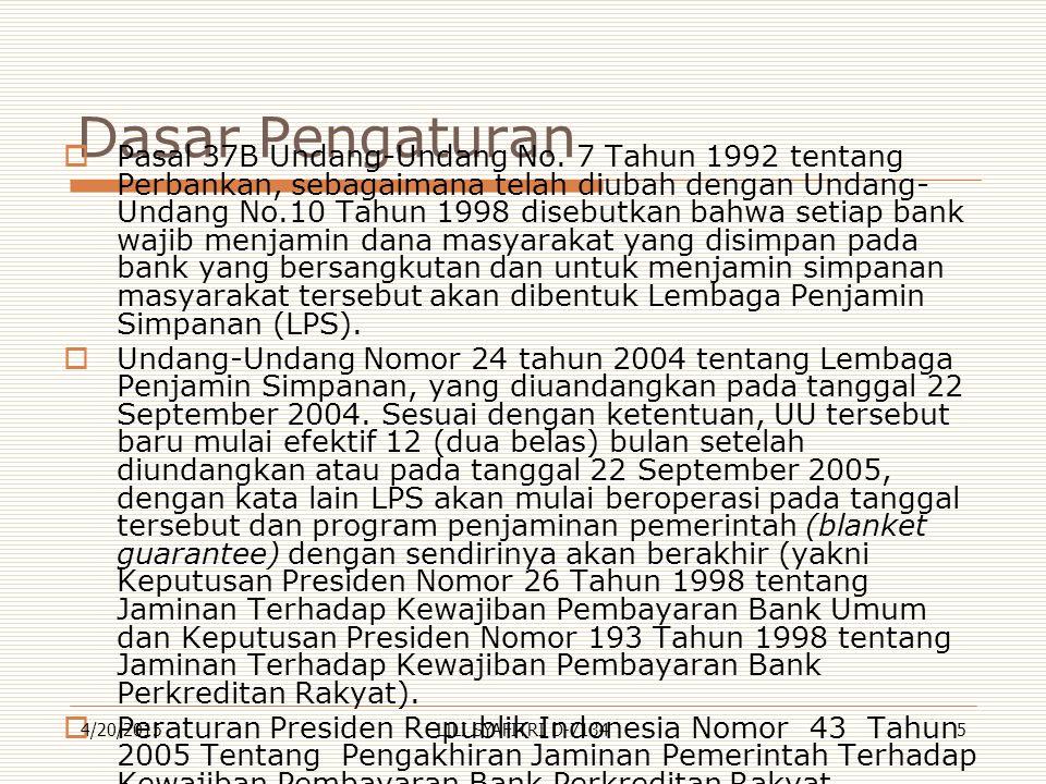 Dasar Pengaturan  Pasal 37B Undang-Undang No. 7 Tahun 1992 tentang Perbankan, sebagaimana telah diubah dengan Undang- Undang No.10 Tahun 1998 disebut