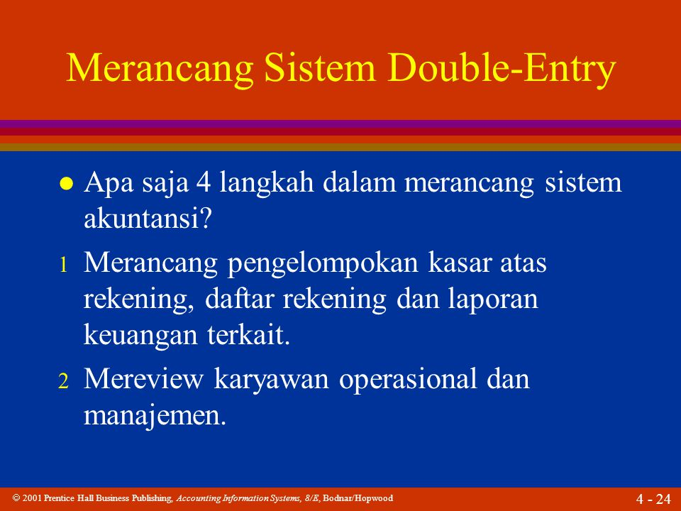  2001 Prentice Hall Business Publishing, Accounting Information Systems, 8/E, Bodnar/Hopwood 4 - 24 Merancang Sistem Double-Entry l Apa saja 4 langkah dalam merancang sistem akuntansi.