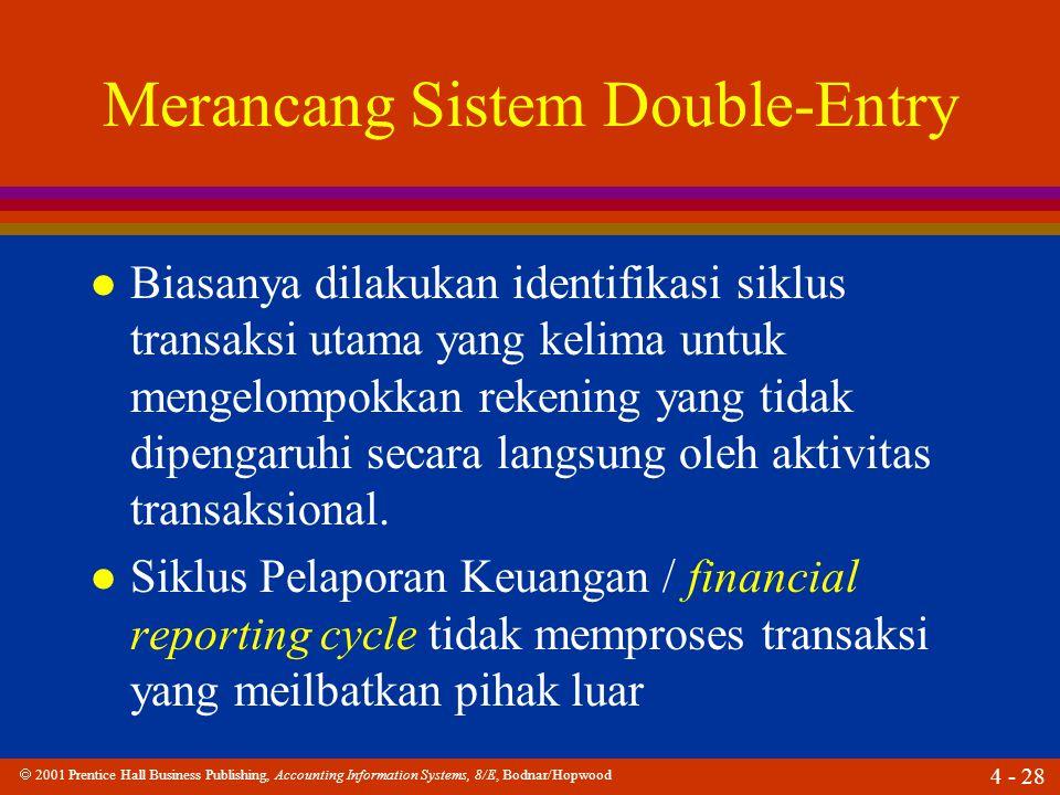  2001 Prentice Hall Business Publishing, Accounting Information Systems, 8/E, Bodnar/Hopwood 4 - 28 Merancang Sistem Double-Entry l Biasanya dilakukan identifikasi siklus transaksi utama yang kelima untuk mengelompokkan rekening yang tidak dipengaruhi secara langsung oleh aktivitas transaksional.