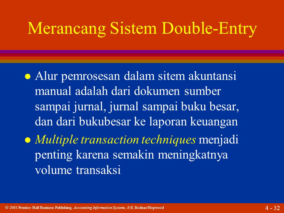  2001 Prentice Hall Business Publishing, Accounting Information Systems, 8/E, Bodnar/Hopwood 4 - 33 Merancang Sistem Double-Entry l Apakah one-write system.