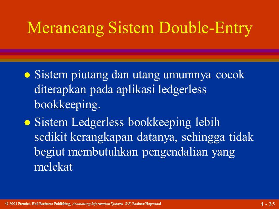  2001 Prentice Hall Business Publishing, Accounting Information Systems, 8/E, Bodnar/Hopwood 4 - 35 Merancang Sistem Double-Entry l Sistem piutang dan utang umumnya cocok diterapkan pada aplikasi ledgerless bookkeeping.