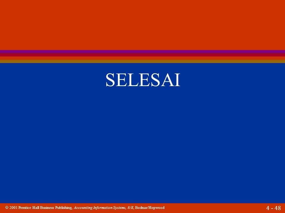  2001 Prentice Hall Business Publishing, Accounting Information Systems, 8/E, Bodnar/Hopwood 4 - 48 SELESAI
