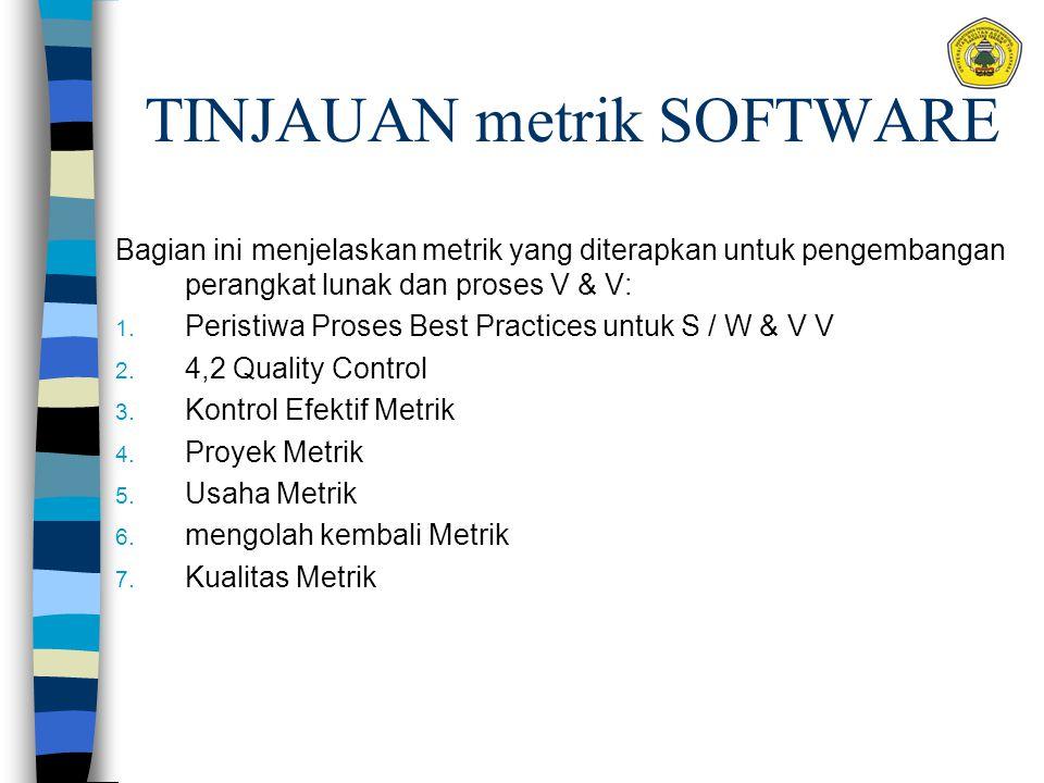 TINJAUAN metrik SOFTWARE Bagian ini menjelaskan metrik yang diterapkan untuk pengembangan perangkat lunak dan proses V & V: 1. Peristiwa Proses Best P