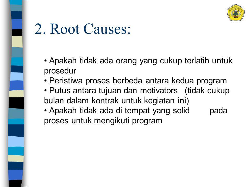 2. Root Causes: Apakah tidak ada orang yang cukup terlatih untuk prosedur Peristiwa proses berbeda antara kedua program Putus antara tujuan dan motiva