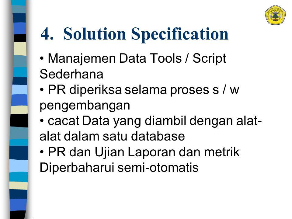 4. Solution Specification Manajemen Data Tools / Script Sederhana PR diperiksa selama proses s / w pengembangan cacat Data yang diambil dengan alat- a