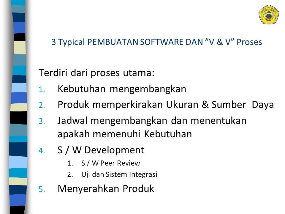 """3 Typical PEMBUATAN SOFTWARE DAN """"V & V"""" Proses Terdiri dari proses utama: 1. Kebutuhan mengembangkan 2. Produk memperkirakan Ukuran & Sumber Daya 3."""