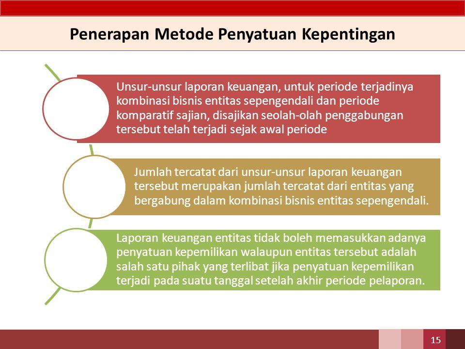 Penerapan Metode Penyatuan Kepentingan 15 Unsur-unsur laporan keuangan, untuk periode terjadinya kombinasi bisnis entitas sepengendali dan periode kom