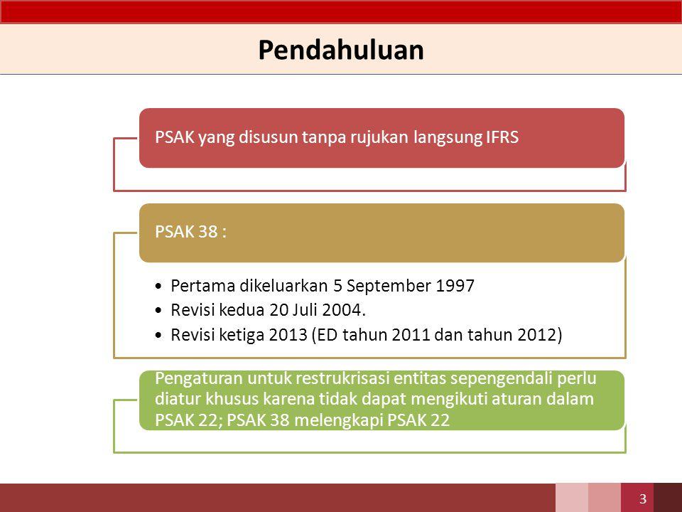 Pendahuluan 3 PSAK yang disusun tanpa rujukan langsung IFRS Pertama dikeluarkan 5 September 1997 Revisi kedua 20 Juli 2004. Revisi ketiga 2013 (ED tah