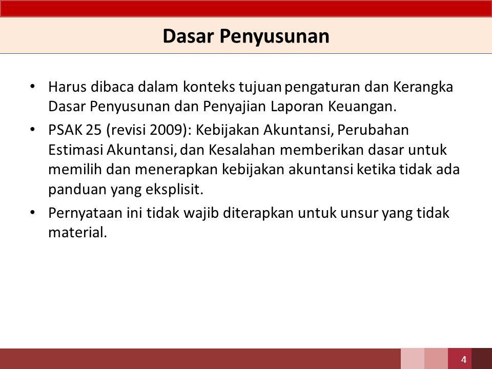 Dasar Penyusunan Harus dibaca dalam konteks tujuan pengaturan dan Kerangka Dasar Penyusunan dan Penyajian Laporan Keuangan. PSAK 25 (revisi 2009): Keb