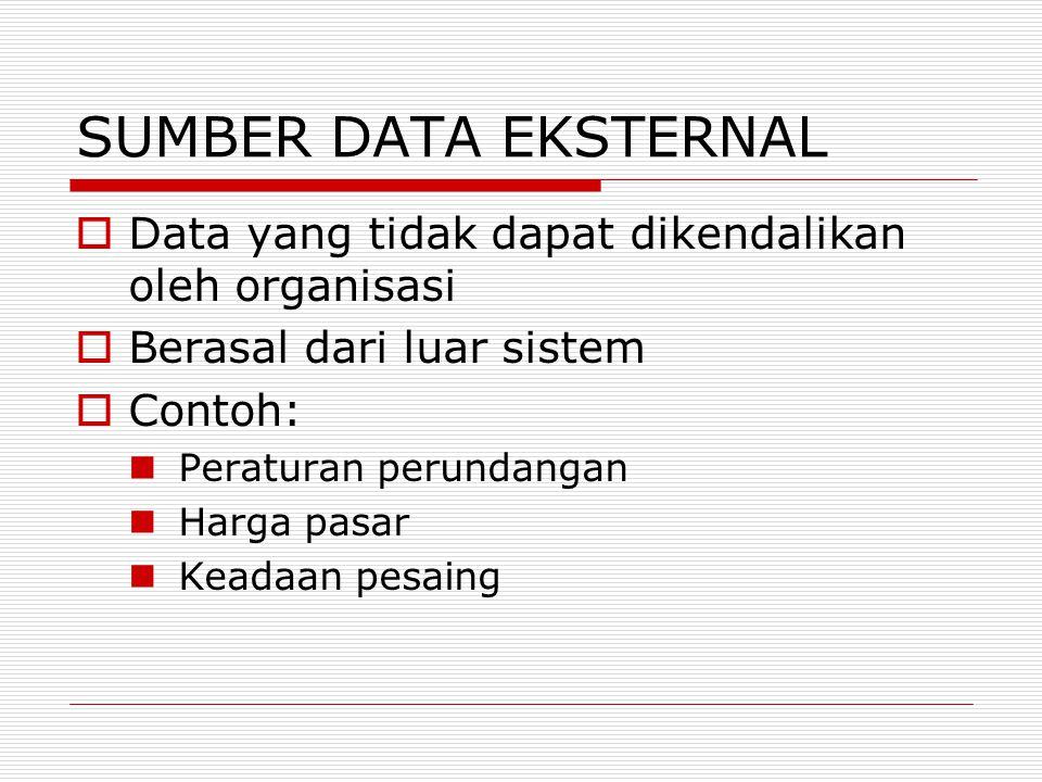 SUMBER DATA EKSTERNAL  Data yang tidak dapat dikendalikan oleh organisasi  Berasal dari luar sistem  Contoh: Peraturan perundangan Harga pasar Kead