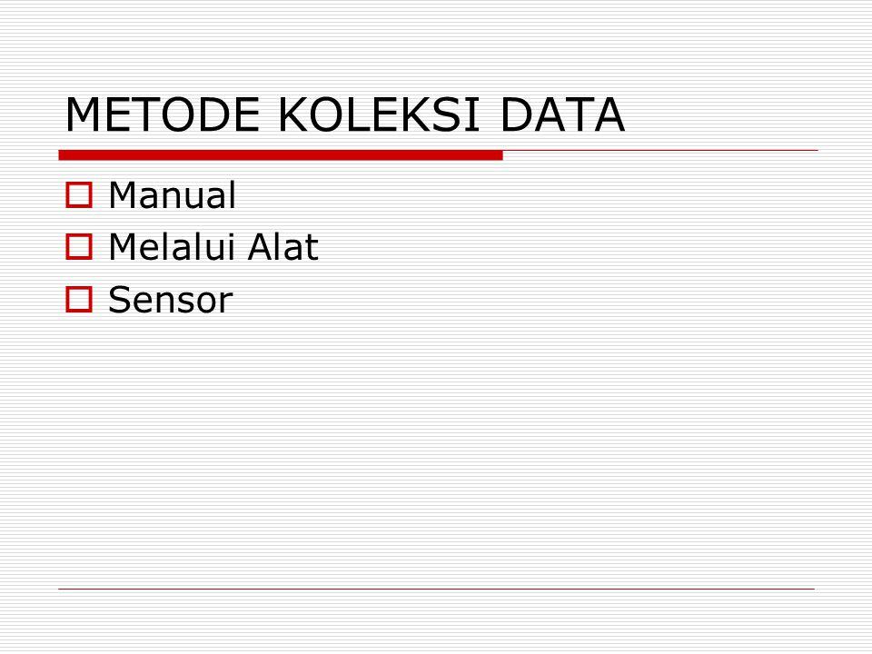 METODE KOLEKSI DATA  Manual  Melalui Alat  Sensor