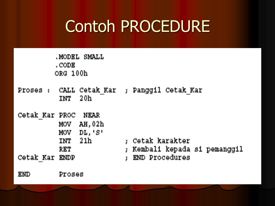 Contoh PROCEDURE