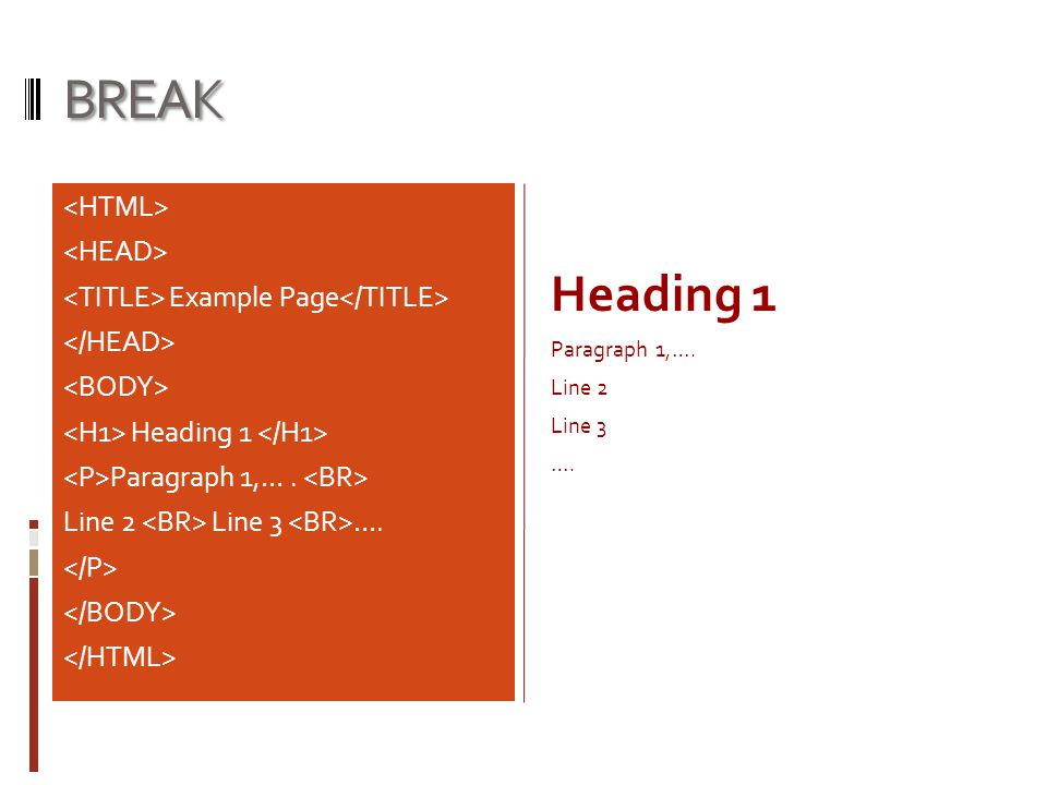 BREAK Example Page Heading 1 Paragraph 1,…. Line 2 Line 3 …. Heading 1 Paragraph 1,…. Line 2 Line 3 ….