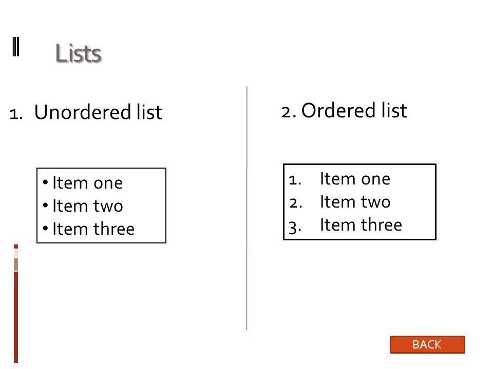 Lists 1.Unordered list Item one Item two Item three 1.