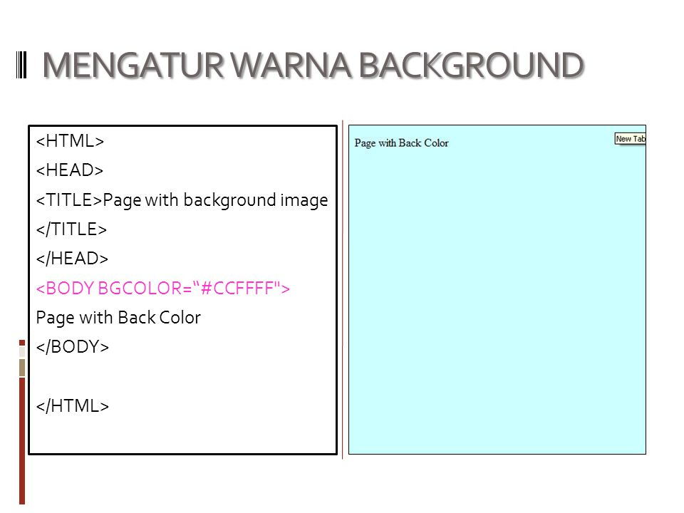 MENGATUR WARNA BACKGROUND Page with background image Page with Back Color