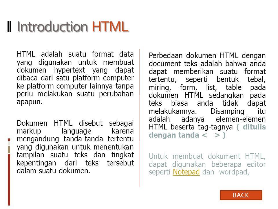 Introduction HTML HTML adalah suatu format data yang digunakan untuk membuat dokumen hypertext yang dapat dibaca dari satu platform computer ke platform computer lainnya tanpa perlu melakukan suatu perubahan apapun.