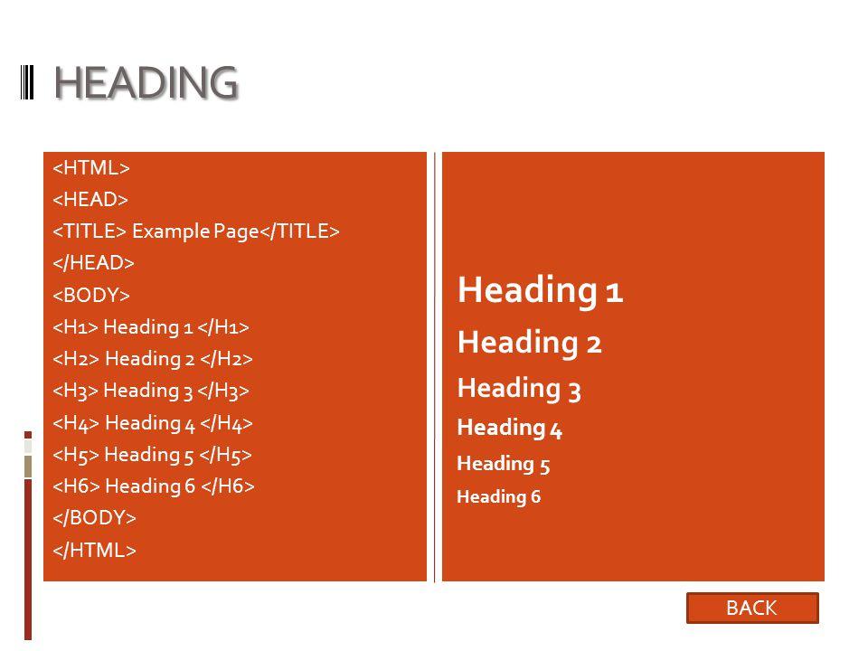 HEADING Example Page Heading 1 Heading 2 Heading 3 Heading 4 Heading 5 Heading 6 Heading 1 Heading 2 Heading 3 Heading 4 Heading 5 Heading 6 BACK