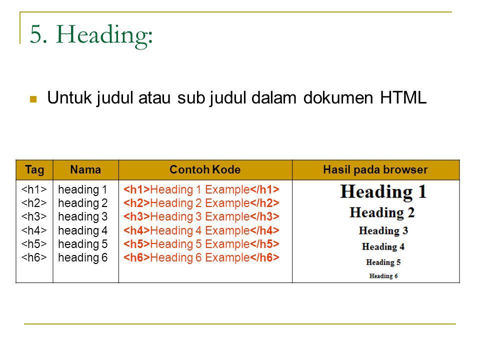 5. Heading: Untuk judul atau sub judul dalam dokumen HTML TagNamaContoh KodeHasil pada browser heading 1 heading 2 heading 3 heading 4 heading 5 headi