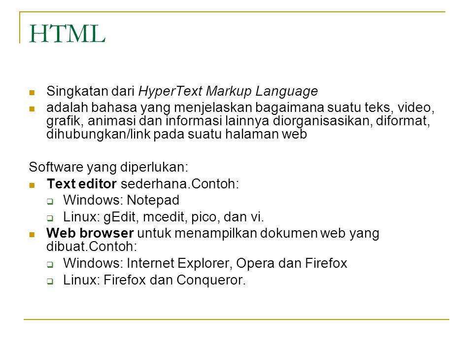 HTML Singkatan dari HyperText Markup Language adalah bahasa yang menjelaskan bagaimana suatu teks, video, grafik, animasi dan informasi lainnya diorganisasikan, diformat, dihubungkan/link pada suatu halaman web Software yang diperlukan: Text editor sederhana.Contoh:  Windows: Notepad  Linux: gEdit, mcedit, pico, dan vi.