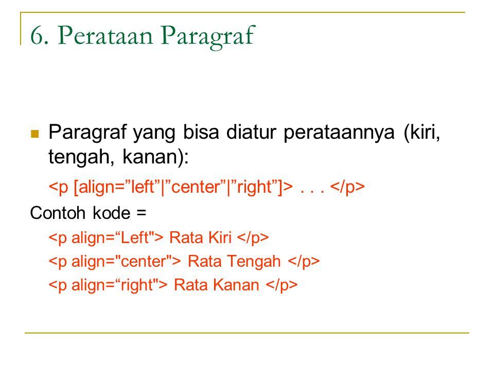6. Perataan Paragraf Paragraf yang bisa diatur perataannya (kiri, tengah, kanan):...