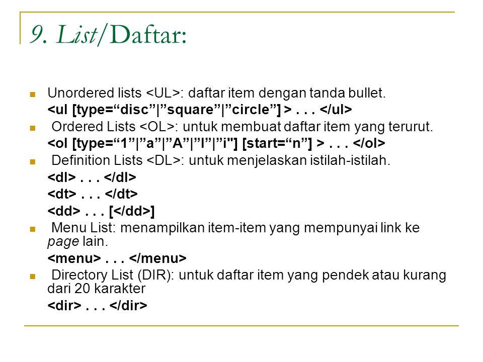9. List/Daftar: Unordered lists : daftar item dengan tanda bullet....
